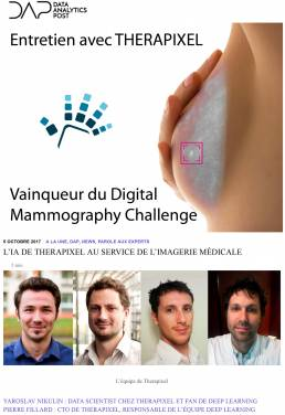 Vainqueur du Digital Mammography Challenge - Therapixel