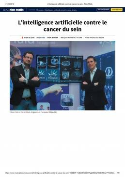 L'intelligence artificielle contre le cancer du sein - Nice-Matin -Therapixel