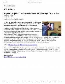 Le Journal des entrepris Therapixel lève 60 k euros pour digitaliser le bloc opératoire