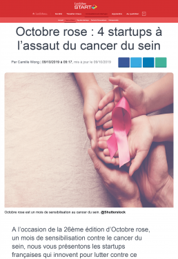 Octobre rose 4 startups à l'assaut du cancer du sein - Les Echos Start