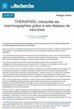 THERAPIXEL interprète les mammographies grâce à ses réseaux de neurones _ larecherche.fr